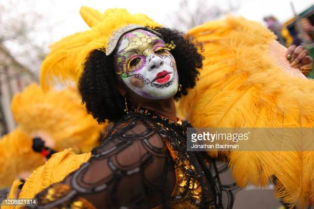 A reveler dances down St Charles Avenue during Fat Tuesday celebrations on February 25 2020 in New Orleans Louisiana Fat Tuesday or Mardi Gras in...