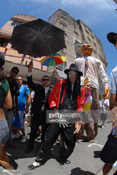 Reveler disguises as Michael Jackson during the Galo da Madrugada the socalled biggest Carnival parade on earth during 2010 carnival celebrations on...