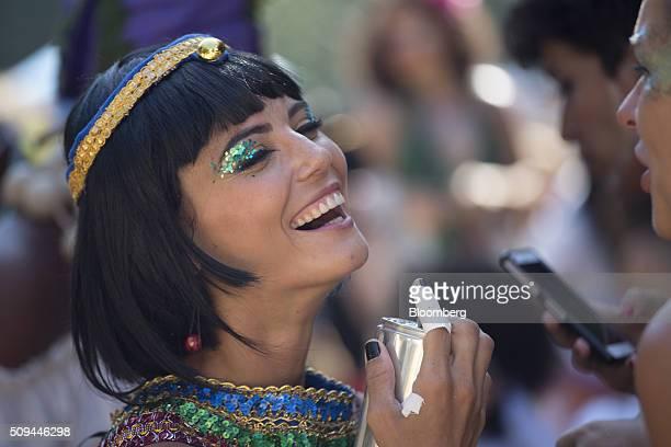 Reveler dressed as Cleopatra laughs during the Bloco das Mulheres Rodadas Carnival parade in Rio de Janeiro, Brazil, on Wednesday, Feb. 10, 2016. The...