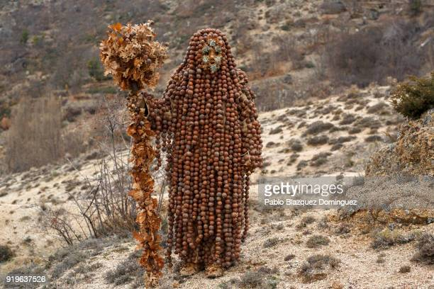 A reveler dressed as 'Harramacho' wearing oak galls stands in the mountain during the traditional Navalacruz Carnival on February 17 2018 in...