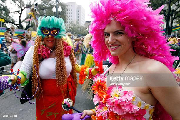 A reveler in the Mondo Kayo parade dances through the streets on Mardi Gras Day February 20 2007 in New Orleans Louisiana Mardi Gras is being...