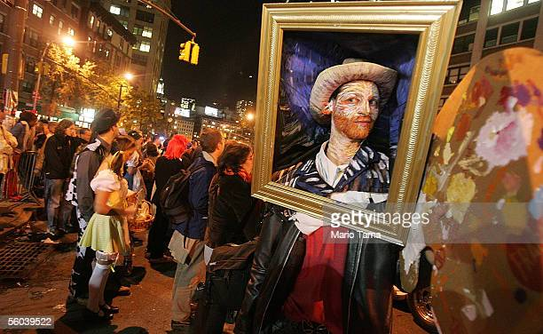 A reveler is dressed as a Van Gogh painting during the 32nd annual Village Halloween Parade October 31 2005 in New York City The nation's largest...