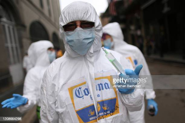 A reveler make their way through the French Quarter during Fat Tuesday celebrations on February 25 2020 in New Orleans Louisiana Fat Tuesday or Mardi...
