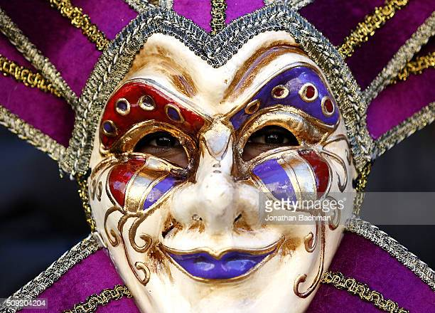 A reveler makes his way through the French Quarter during Mardi Gras day on February 9 2016 in New Orleans Louisiana Fat Tuesday or Mardi Gras in...