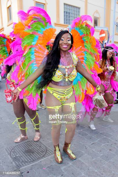 A reveler participates in the Golden Anniversary Grand Parade during St Maarten Carnival on April 30 2019 in Philipsburg St Maarten