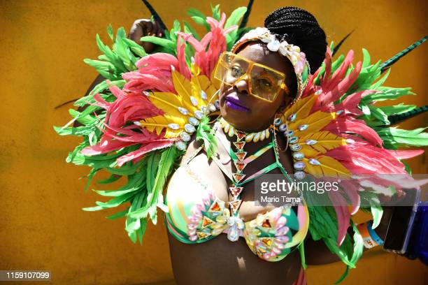 A reveler poses at the annual Los Angeles Culture Festival and Hollywood Carnival Parade a 'world culture festival' on June 29 2019 in Los Angeles...