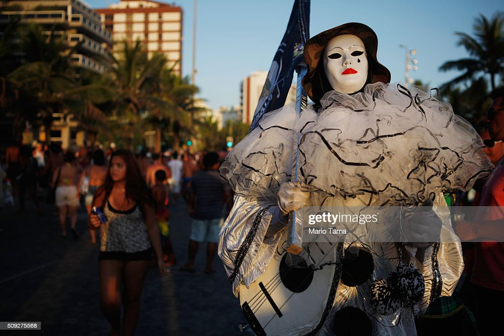A reveler poses during Carnival celebrations at the Banda de Ipanema 'bloco', or street parade, on February 9, 2016 in Rio de Janeiro, Brazil. Festivities have continued throughout major Brazilian cities for Carnival in spite of the threat of the Zika virus. Today is the last official day of Carnival.
