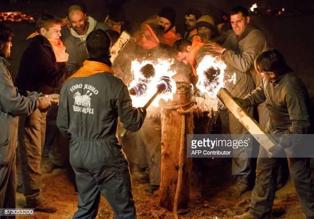 Revelers attach flammable balls to the bull's horns during the Toro de Jubilo festival in Medinaceli near Soria Spain on November 11 2017 The Jubilee...