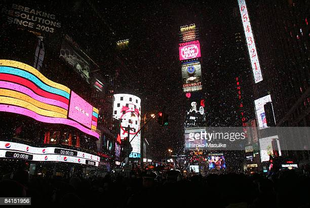 Revelers celebrate the New Year in Times Square moments after the ball dropped January 01 2009 in New York City The Times Square Alliance estimates...