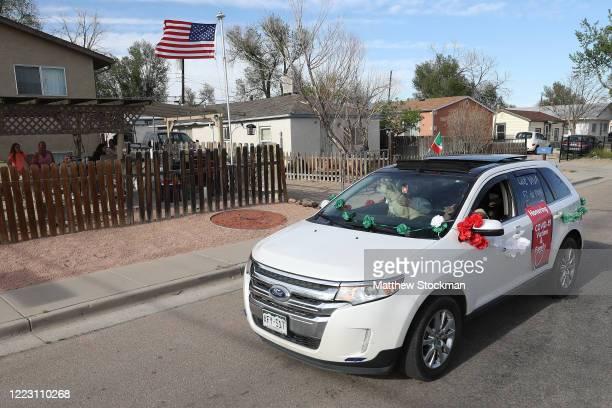 Revelers cruise through neighborhoods in celebration of Cinco de Mayo on May 05, 2020 in Pueblo, Colorado. Most traditional observations of Cinco de...