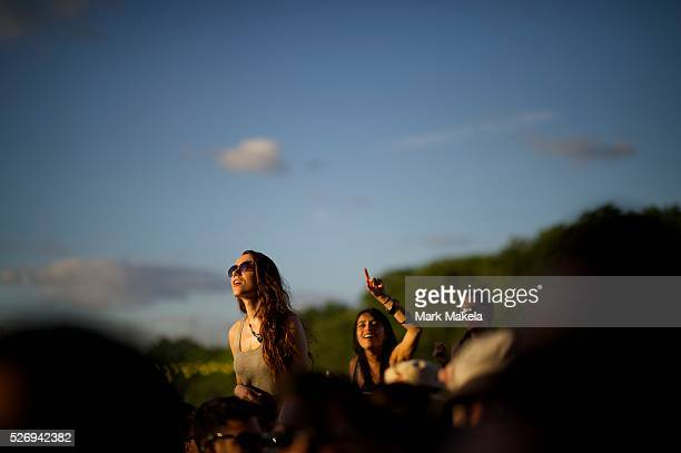 Revelers dance to Phoenix during the Governors Ball Music Festival on Randall's Island in New York NY on June 6 2014