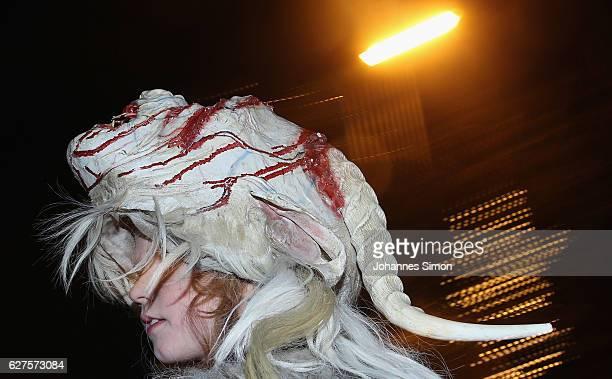 Revelers dressed as the Krampus creature parade through the village center during an annual 'Krampus run' on December 2 2016 in Neustift im Stubaital...
