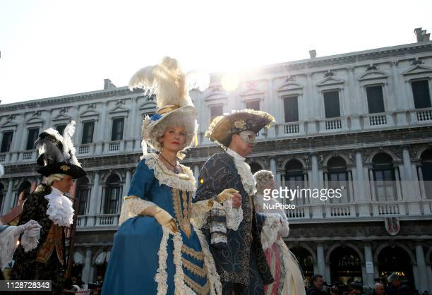 Revelers during the event of the Eagle Flight during the Venice Carnival on March 03 2019 in Venice Italy The theme for the 2019 edition of Venice...