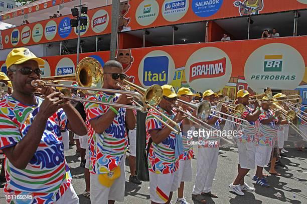 Revelers enjoy carnival celebration during the Fuliões da Saudade performance at Campo Grande circuito n February 09 2013 in Salvador Brazil