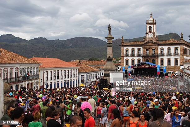 Revelers fill the colonial streets of the historic city of Ouro Preto during carnival in Minas Gerais Brazil on Feb 3 2008 Ouro Preto once the...