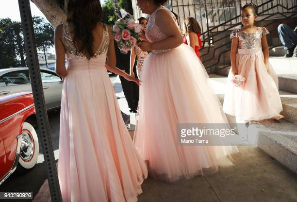 Revelers gather at a quinceanera party near the USMexico border on April 7 2018 in Tijuana Mexico President Trump has issued a decree for the...