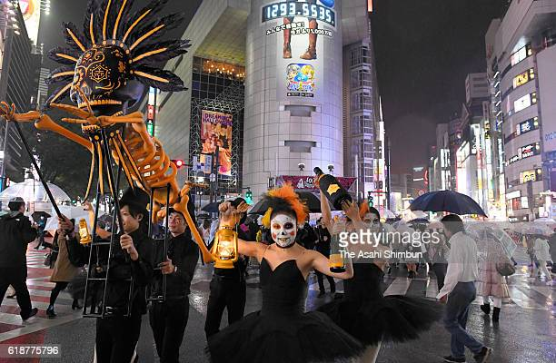 Revelers gather at Shibuya on October 28 2016 in Tokyo Japan