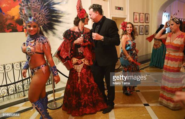 Revelers gather at the 'Baile do Copa' the annual Carnival ball held at Belmond Copacabana Palace hotel on February 11 2018 in Rio de Janeiro Brazil...