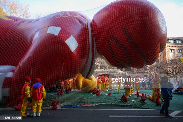 Revelers get ready before the annual Macy's Thanksgiving parade on November 28 2019 in New York City