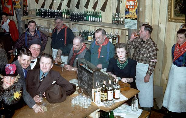 Revelers have a drink in a local bar during the Saint Paul Winter Carnival in 1939 in St Paul Minnesota