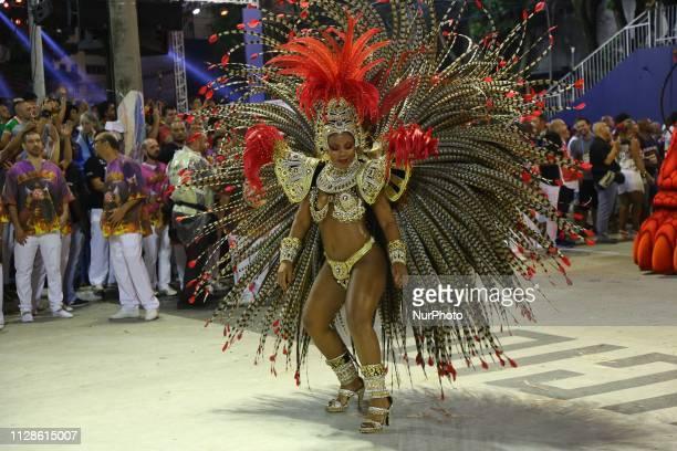 Revelers of Samba School Salgueiro perform during the parade at 2019 Brazilian Carnival at Sapucai Sambadrome on March 4 2019 in Rio de Janeiro...