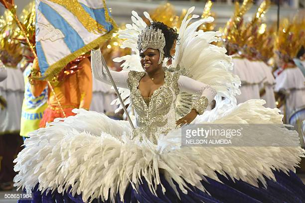 Revelers of the Aguia de Ouro samba school perform during the first night of the carnival parade at the Sambadrome in Sao Paulo Brazil on February 6...