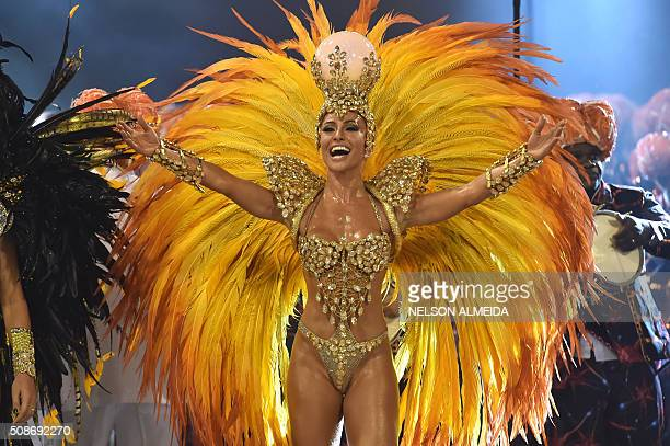 TOPSHOT Revelers of the Gavioes da Fiel samba school perform during the first night of the carnival parade at the Sambadrome in Sao Paulo Brazil on...