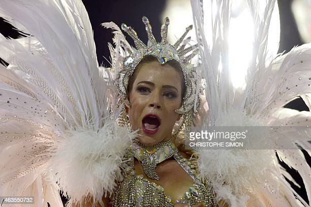 Revelers of the Salgueiro samba school perform during the first day of carnival parade at the Sambodrome in Rio de Janeiro Brazil on February 16 2015...