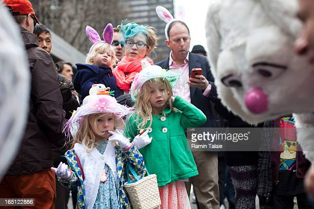 Revelers participate during the annual Easter Day procession on 5th Avenue March 31 2013 in New York City The annual festivities attracts hundreds of...