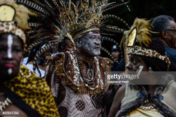 Revelers participate in a Caribbean street carnival called J'ouvert on September 4 2017 in the Brooklyn borough of New York City J'ouvert which draws...