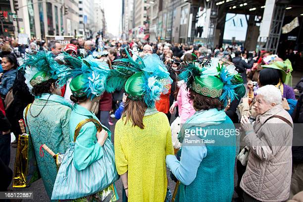 Revelers participate in the annual Easter Day procession on 5th Avenue March 31 2013 in New York City The annual festivities attracts hundreds of New...