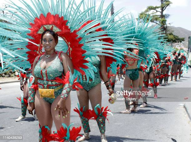 Revelers participate in the Golden Anniversary Grand Parade during St Maarten Carnival on April 30 2019 in Philipsburg St Maarten