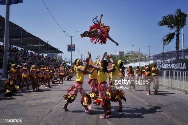 Revelers perform during Parade 'Gran parada de tradicion y folclor' in the second day of the carnival of Barranquilla in Colombia, on February 23th,...