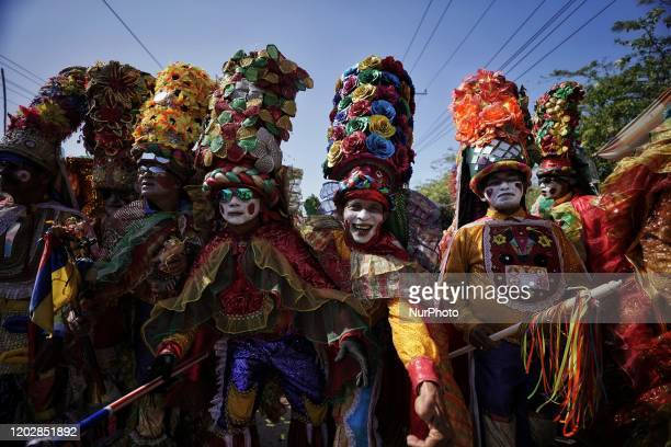 Revelers perform during Parade the battle of the flowers opening the carnival of Barranquilla, Colombia, on February 22, 2020.