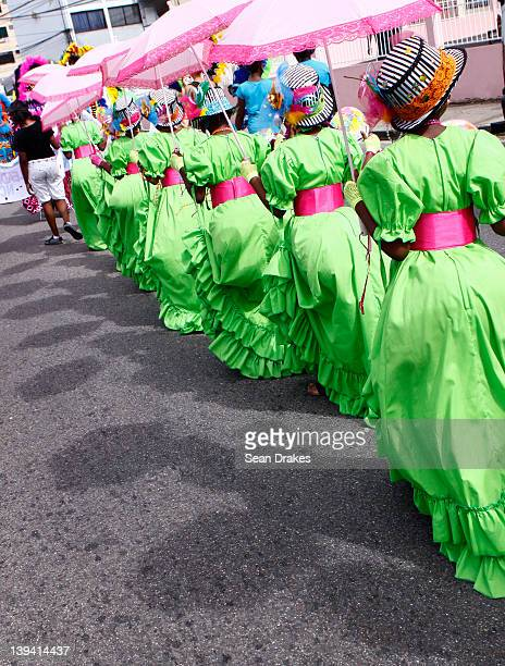 Revelers perform during the traditional Nostalgia carnival parade in Trinidad on February 19 2012 in Port of Spain Trinidad