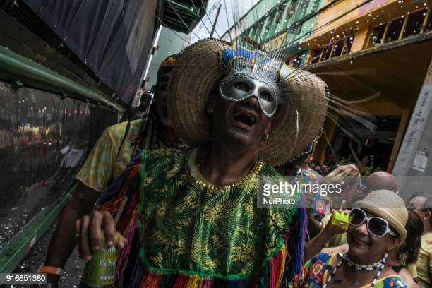 Revelers play during the first official Carnival day in one of the biggest parades of the world's street carnival the Bloco do Galo da Madrugada in...