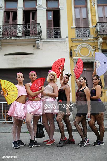 Revelers pose during street Carnival celebrations on February 16 2015 in Rio de Janeiro Brazil Official Carnival celebrations run until February 17