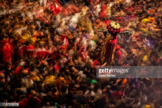 Revelers surround 'Gegants' during the first day of the 'La Patum' Festival on June 20 2019 in Berga Spain The La Patum festival's roots are found in...