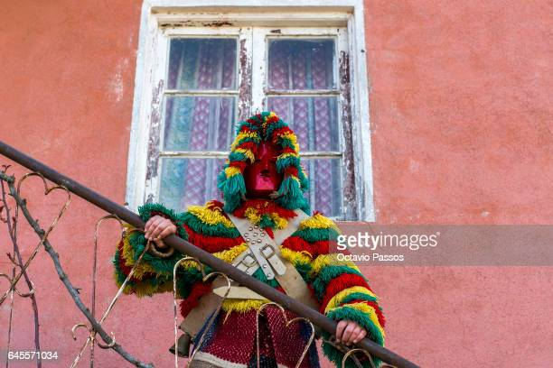 Reveller from the Portuguese village of Podence dressed in a traditional costume during annual Carnival festivities on February 26 2017 in Macedo de...