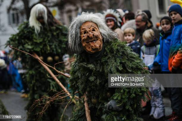 Reveller in carnival costumes parade on January 19, 2020 in Bad Cannstatt, near Stuttgart, southern Germany. / Germany OUT