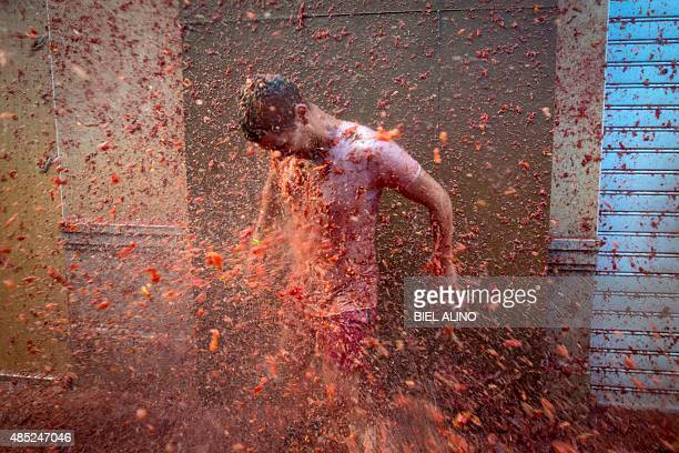 A reveller is pelted with tomato pulp during the annual 'tomatina' festivities in the village of Bunol near Valencia on August 26 2015 Some 22000...