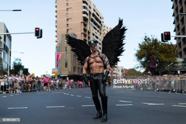 A reveller is pictured on Oxford Street before the 2018 Sydney Gay Lesbian Mardi Gras Parade on March 3 2018 in Sydney Australia The Sydney Mardi...
