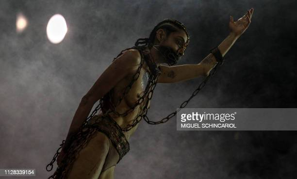A reveller of Academicos do Tucuruvi samba school performs during the first night of carnival in Sao Paulo's Sambadrome Brazil on March 2 2019