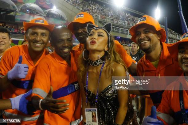 A reveller of the Beija Flor de Nilópolis samba school performs during the first night of Rio's Carnival at the Sambadrome in Rio Brazil on February...