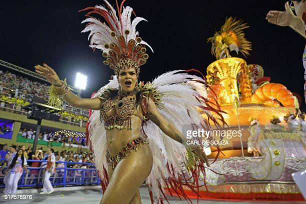 Reveller of the Uniao da Ilha samba school performs during the second night of Rio's Carnival at the Sambadrome in Rio de Janeiro, Brazil, on...