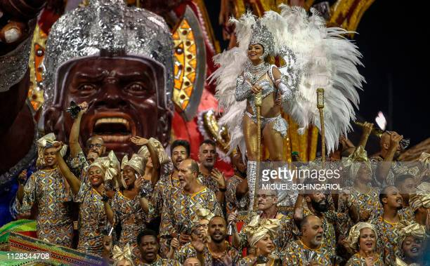 A reveller of X9Paulistana samba school performs during the first night of carnival in Sao Paulo's Sambadrome Brazil on March 2 2019