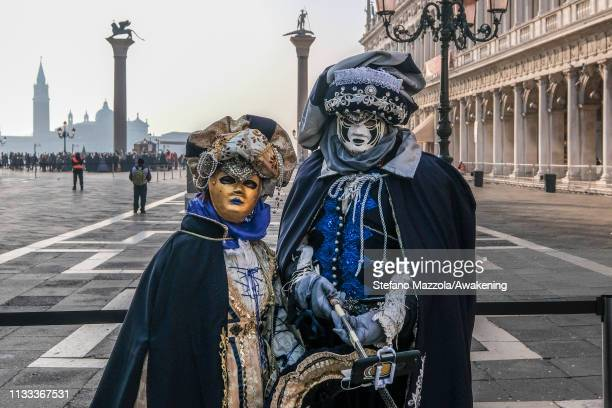 A reveller pose for a portrait during the event of the Eagle Flight during the Venice Carnival on March 03 2019 in Venice Italy The theme for the...