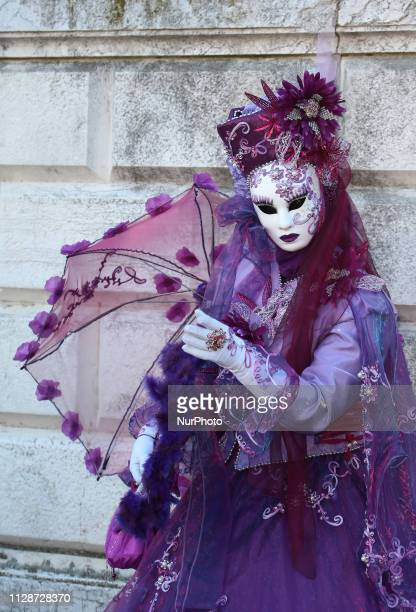 A reveller pose for a portrait during the Venice Carnival on February 28 2019 in Venice Italy The theme for the 2019 edition of Venice Carnival is...