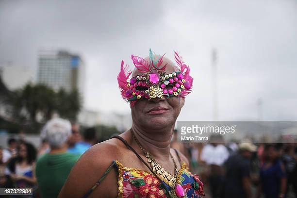 A reveller poses at the annual Gay Pride Parade on November 15 2015 in Rio de Janeiro Brazil Marchers called for expanded rights and protection from...