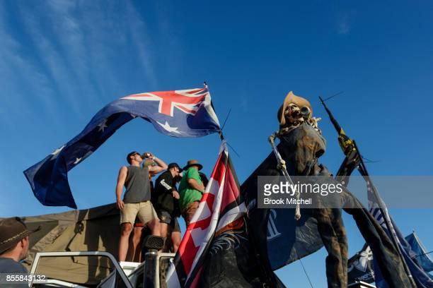 Revellers and a model skeleton knicknamed 'slim' at the 2017 Deni Ute Muster on September 30 2017 in Deniliquin Australia The annual Deniliquin Ute...